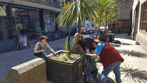 Volunteers busy weeding and replanting